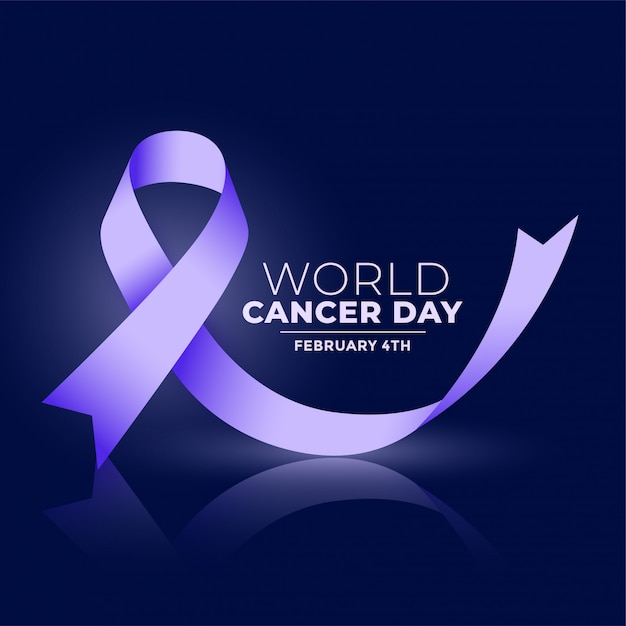 Wereld kanker dag ribbconcept banner Gratis Vector