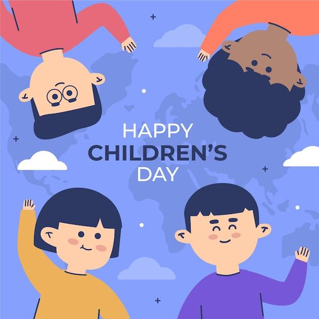 Wereld kinderdag illustratie ontwerp Gratis Vector
