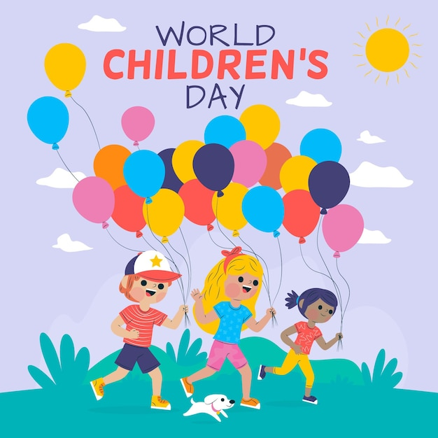 Wereld kinderdag thema Gratis Vector