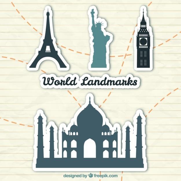 Wereld landmark stickers Gratis Vector