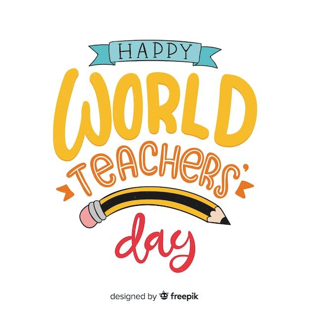 Wereld leraar dag belettering achtergrond Gratis Vector