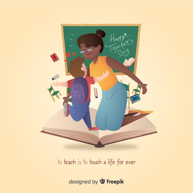 Wereld leraar dag illustratie Gratis Vector