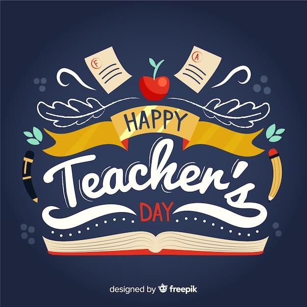 Wereld leraren dag belettering Gratis Vector