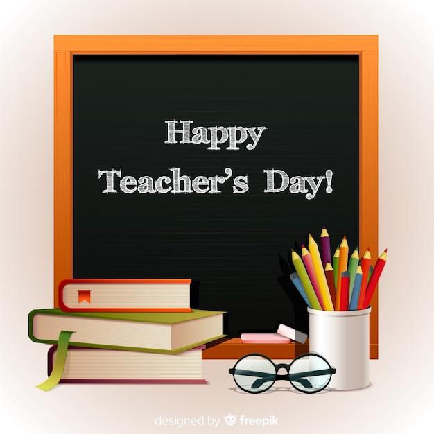 Wereld leraren dag concept met realistische achtergrond Gratis Vector