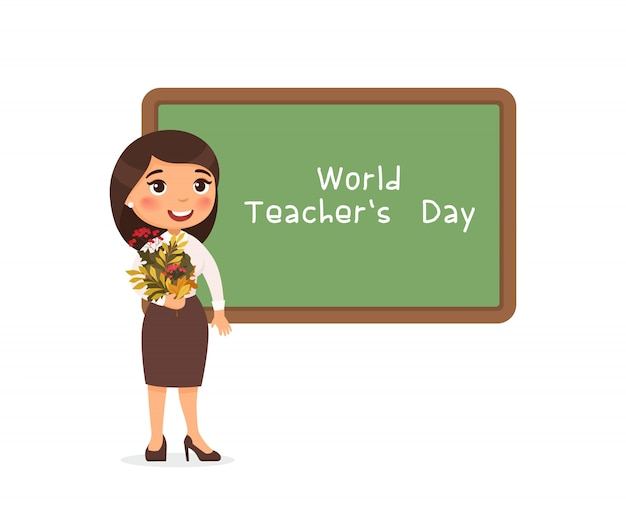 Wereld leraren dag groet platte vectorillustratie. Gratis Vector
