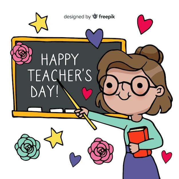 Wereld lerarendag met schoolbord Gratis Vector