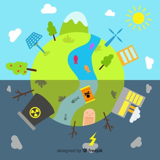 Wereld met hernieuwbare energiebronnen en vervuiling Gratis Vector