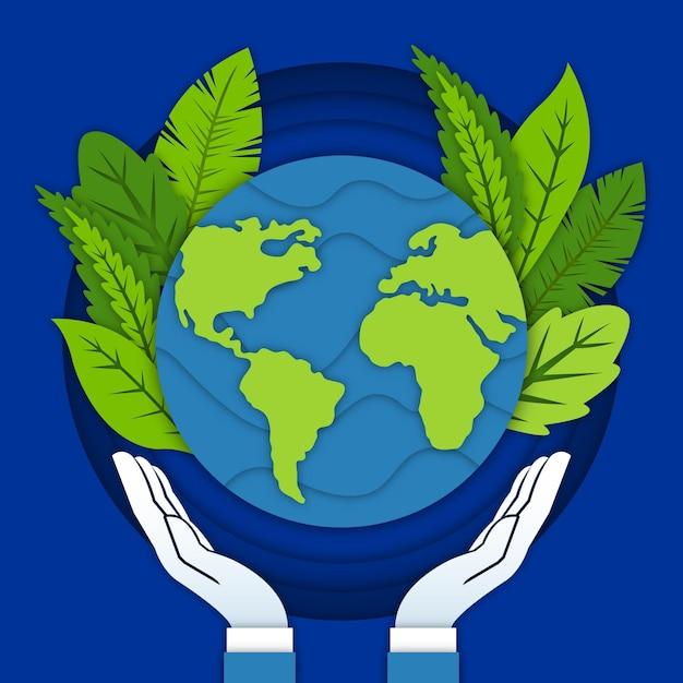 Wereld milieu dag achtergrond in papier stijl Gratis Vector