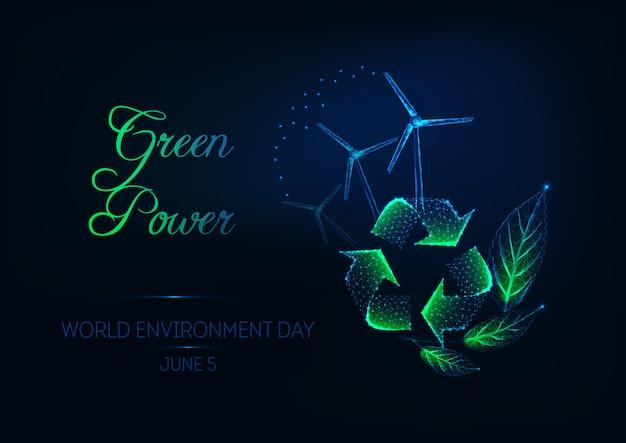 Wereld milieu dag banner met recycle teken Premium Vector