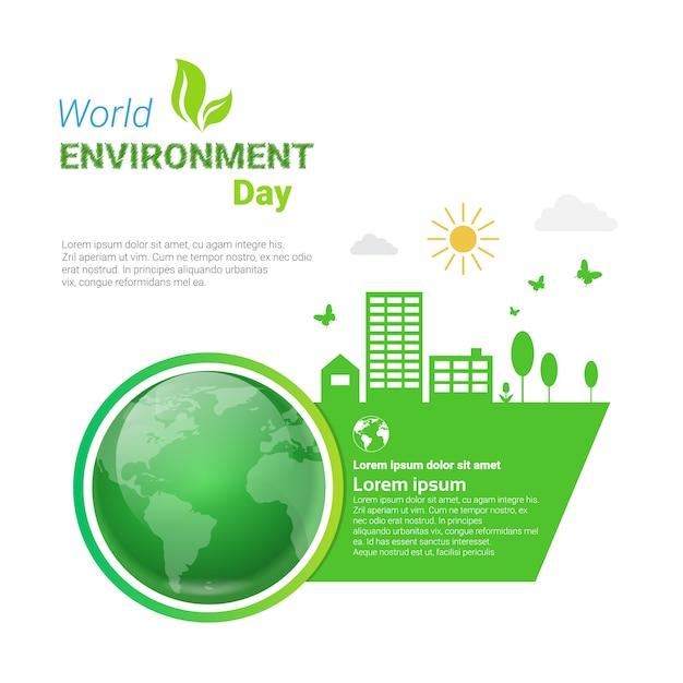 Wereld milieu dag ecologie bescherming vakantie wenskaart Premium Vector