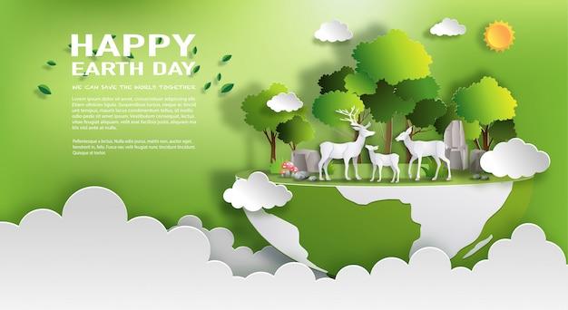 Wereld milieu en aarde dag concept Premium Vector