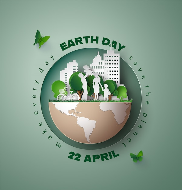Wereld milieu en aarde dag concept, Premium Vector