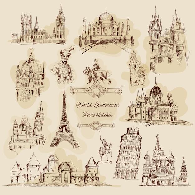 Wereld monumenten schets vintage icons set Gratis Vector