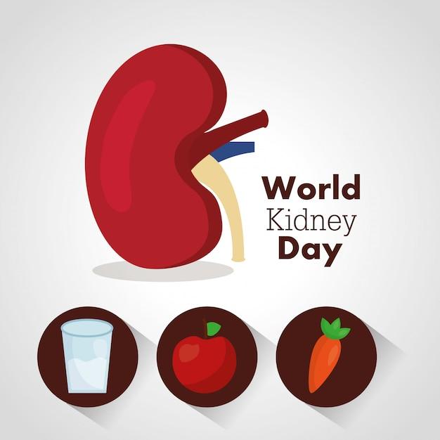 Wereld nier dag illustratie Gratis Vector