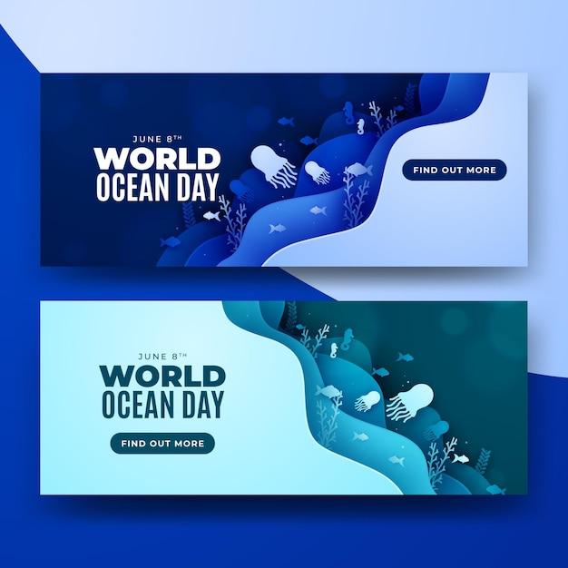 Wereld oceaan dag papier stijl lagen banner Gratis Vector