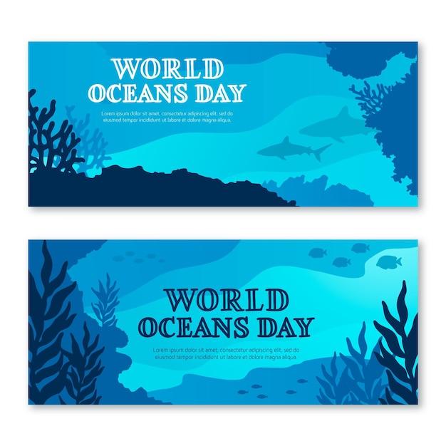 Wereld oceanen dag banner concept Gratis Vector