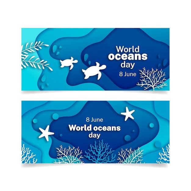 Wereld oceanen dag banner in papier stijl Gratis Vector