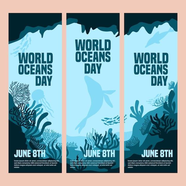 Wereld oceanen dag banner set Gratis Vector