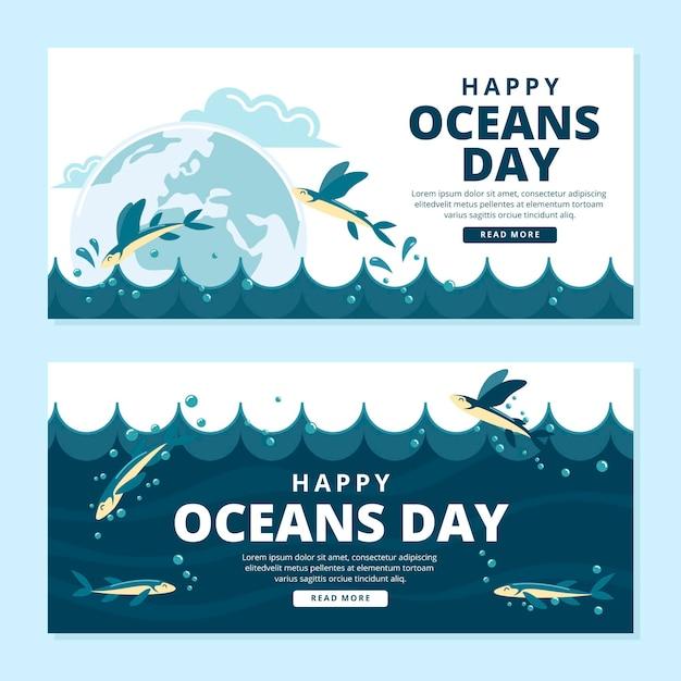 Wereld oceanen dag banners sjabloon Gratis Vector