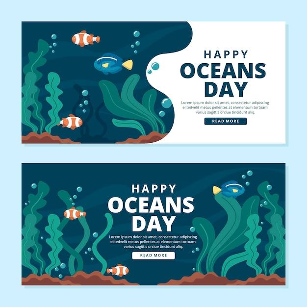 Wereld oceanen dag banners Gratis Vector