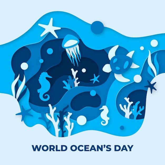 Wereld oceanen dag concept in papierstijl Gratis Vector