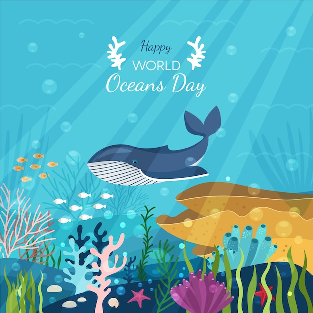 Wereld oceanen dag concept Gratis Vector