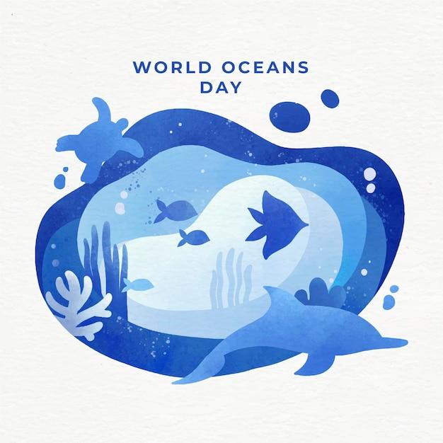 Wereld oceanen dag evenement Gratis Vector