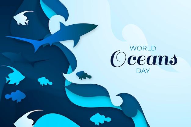 Wereld oceanen dag in papier stijl Gratis Vector