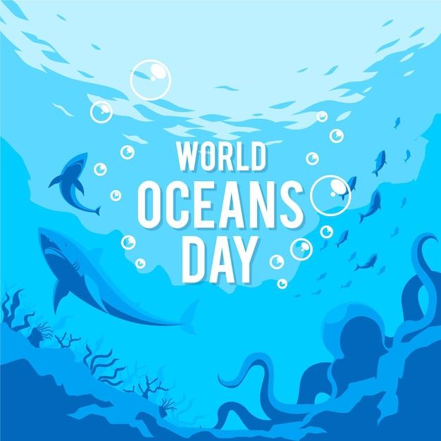 Wereld oceanen dag in platte ontwerp Gratis Vector