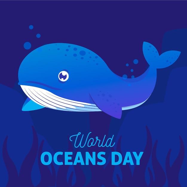 Wereld oceanen dag met blauwe vinvis Gratis Vector
