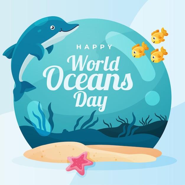 Wereld oceanen dag met dolfijn Gratis Vector