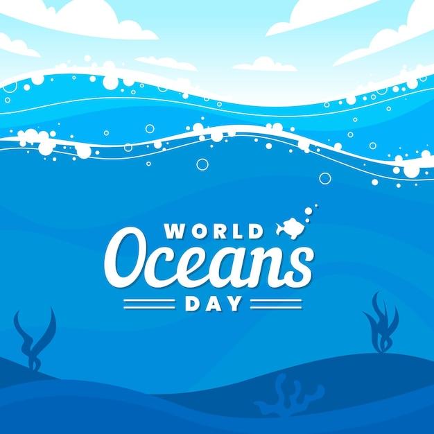 Wereld oceanen dag met oceaan en golven Gratis Vector