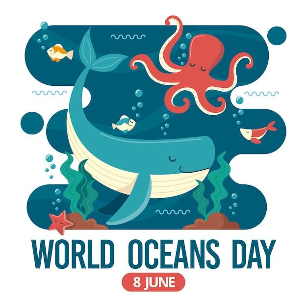 Wereld oceanen dag met octopus en walvis Gratis Vector