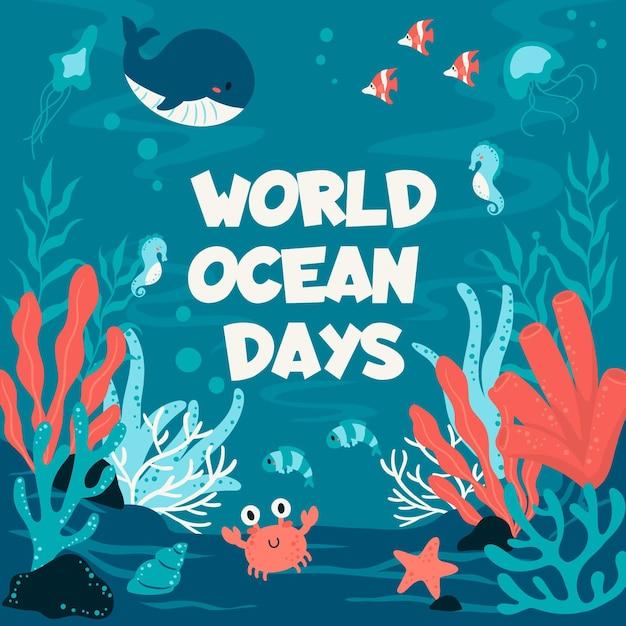 Wereld oceanen dag met walvis en krab Gratis Vector