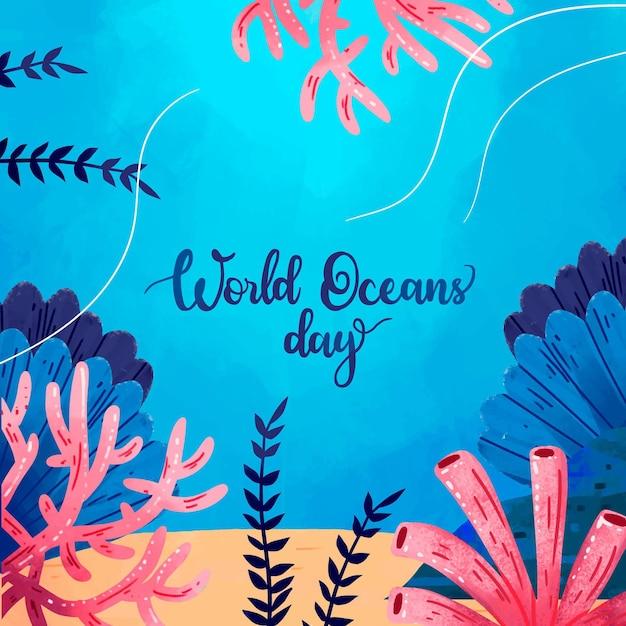 Wereld oceanen dag thema Gratis Vector