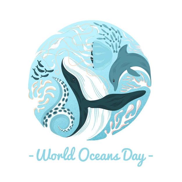 Wereld oceanen dag walvis en dolfijn Gratis Vector