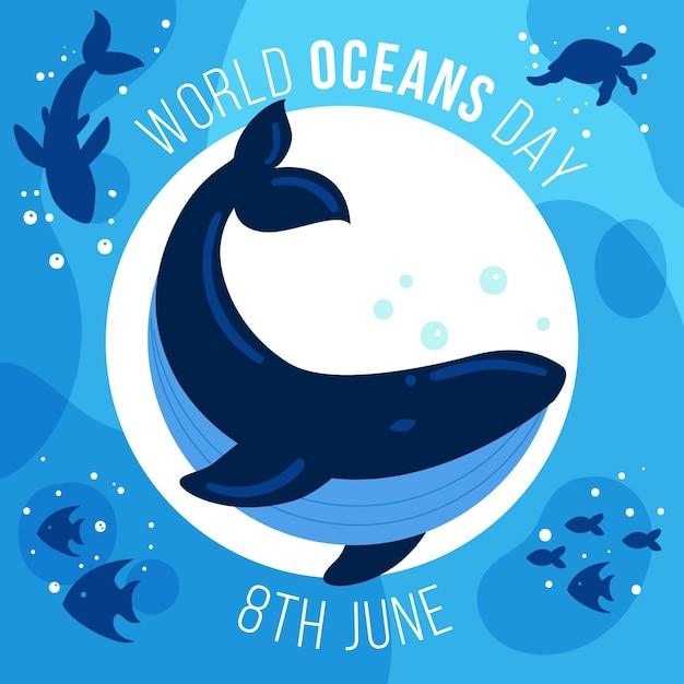 Wereld oceanen dagviering Gratis Vector