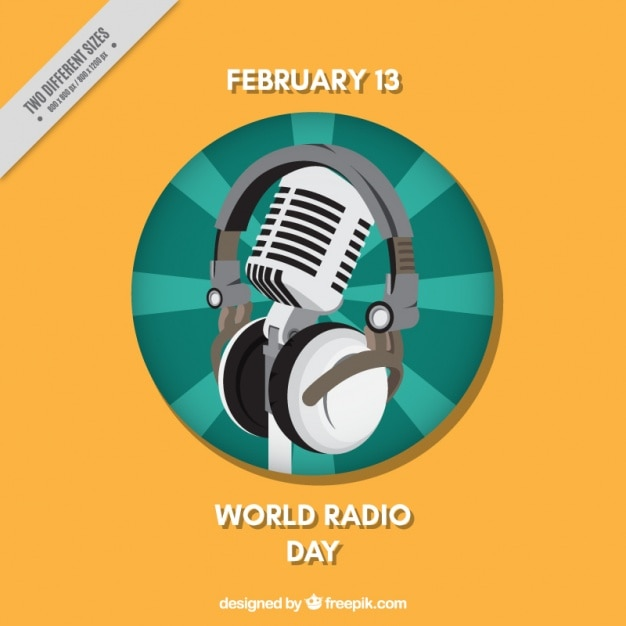 Wereld radio dag achtergrond met microfoon en hoofdtelefoon Gratis Vector