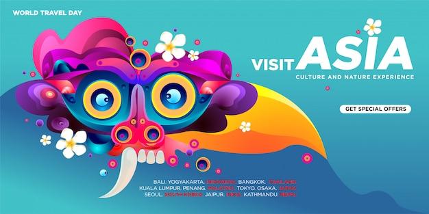 Wereld reisdag aziatische bezoek sjabloon voor spandoek Premium Vector