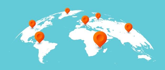 Wereld reiskaart. spelden op globale aardekaarten, bedrijfscommunicatie geïsoleerde illustratie wereldwijd Premium Vector
