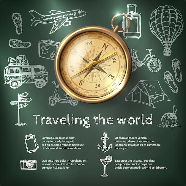 Wereld reizen poster met kompas Gratis Vector