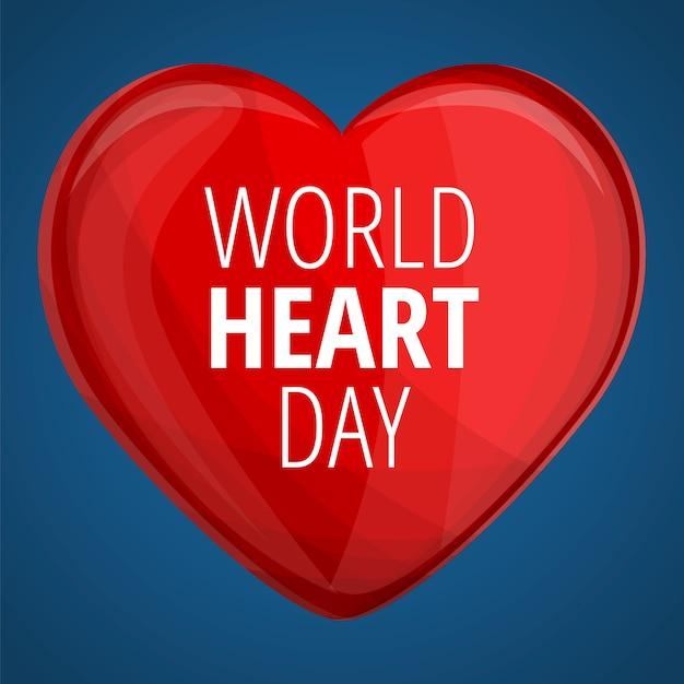Wereld rood hart dag banner, cartoon stijl Premium Vector