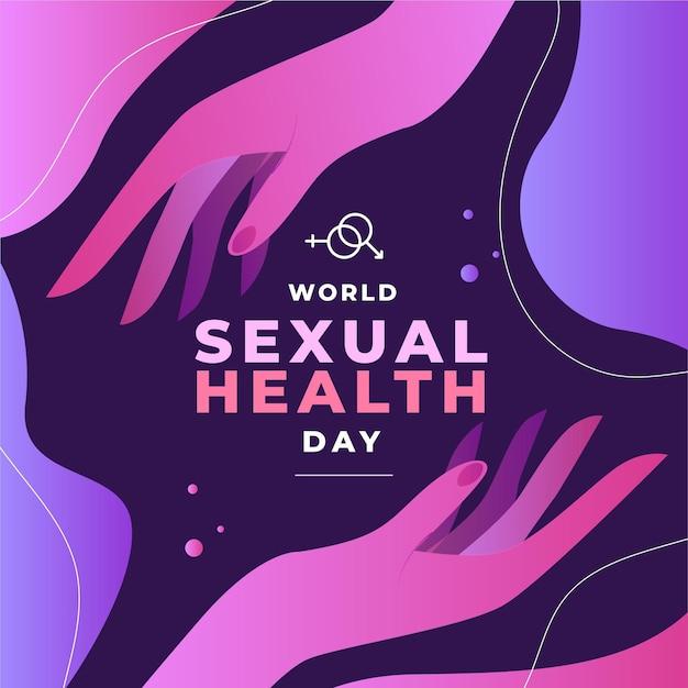 Wereld seksuele gezondheid dag achtergrond met handen Gratis Vector