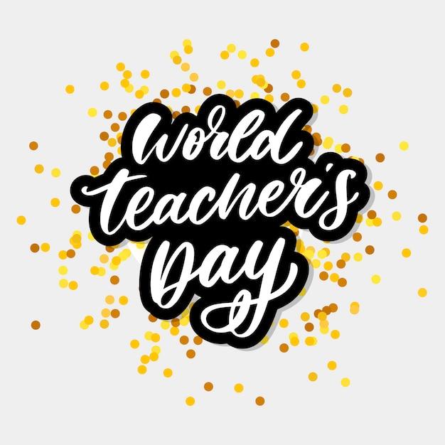 Wereld teacher's day belettering Premium Vector