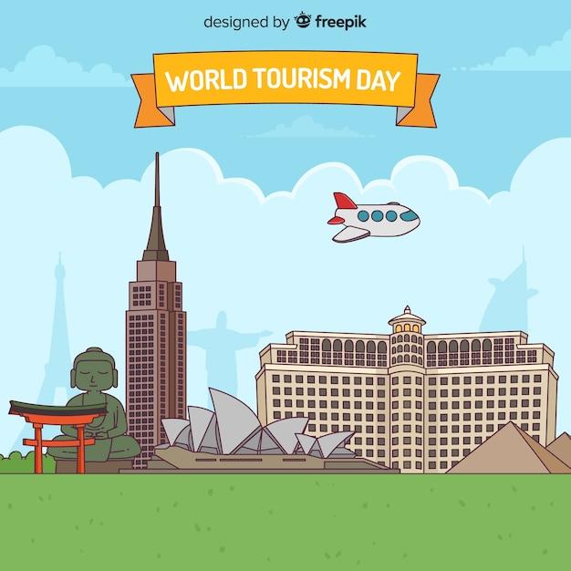 Wereld toerisme achtergrond met monumenten in platte ontwerp Gratis Vector