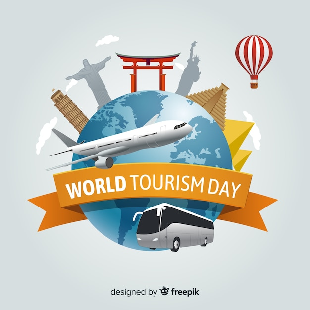Wereld toerisme achtergrond van de dag Gratis Vector