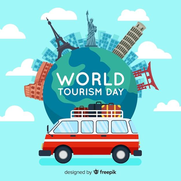 Wereld toerisme dag achtergrond met bezienswaardigheden en transport Gratis Vector