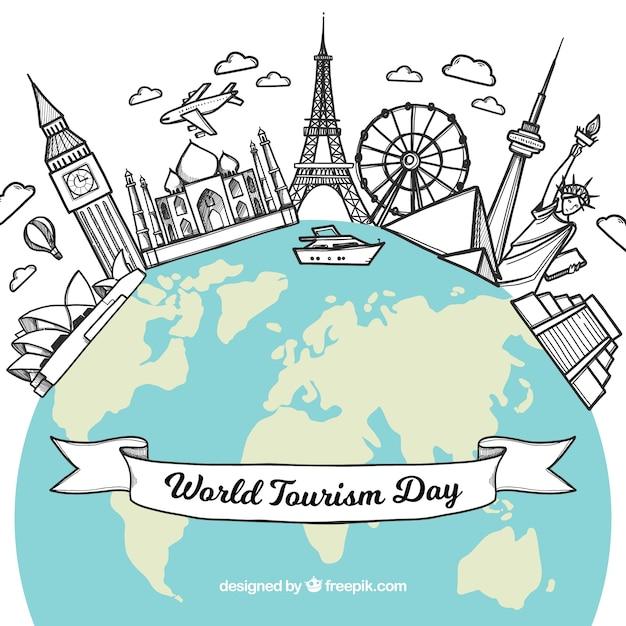 Wereld toerisme dag achtergrond met wereld en monumenten Gratis Vector