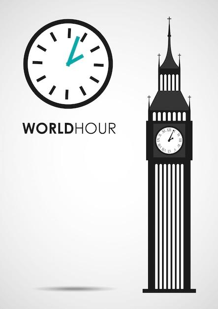 Wereld uur Premium Vector