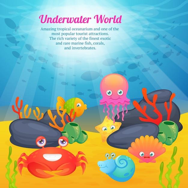 Wereld van schattige dieren onderwaterwereld Gratis Vector